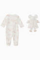 thumbnail of Printed Cotton Sleepsuit with Toy Mouse   #1
