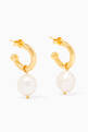 thumbnail of Jewel Pearl Charm Gold Plated Hoops    #0
