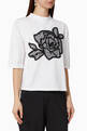 thumbnail of Rose Embroidery Jersey T-Shirt #0