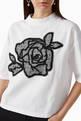 thumbnail of Rose Embroidery Jersey T-Shirt #4