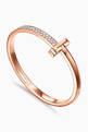 thumbnail of Tiffany T1 Wide Diamond Hinged Bangle in 18kt Rose Gold           #4