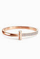 thumbnail of Tiffany T1 Wide Diamond Hinged Bangle in 18kt Rose Gold           #0