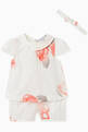 thumbnail of Macro Rose Cotton Top, Shorts & Headband Set #0