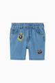 thumbnail of Embroidered Cats Cotton Denim Chambray Shorts  #0