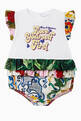 "thumbnail of Romper Suit with ""Love Yourself First"" Print in Cotton Jersey and Floral Majolica Print Poplin    #0"