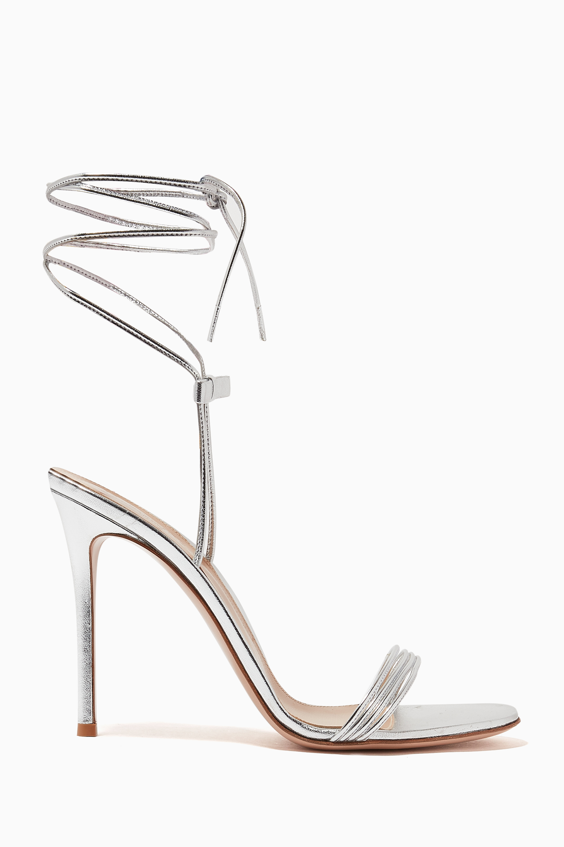 Shop Gianvito Rossi Silver Ankle Tie-Up