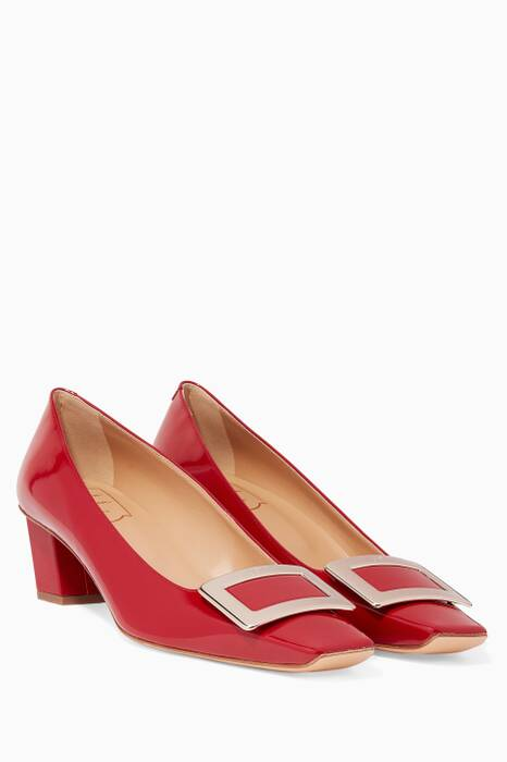 Red Belle Vivier Patent Pumps