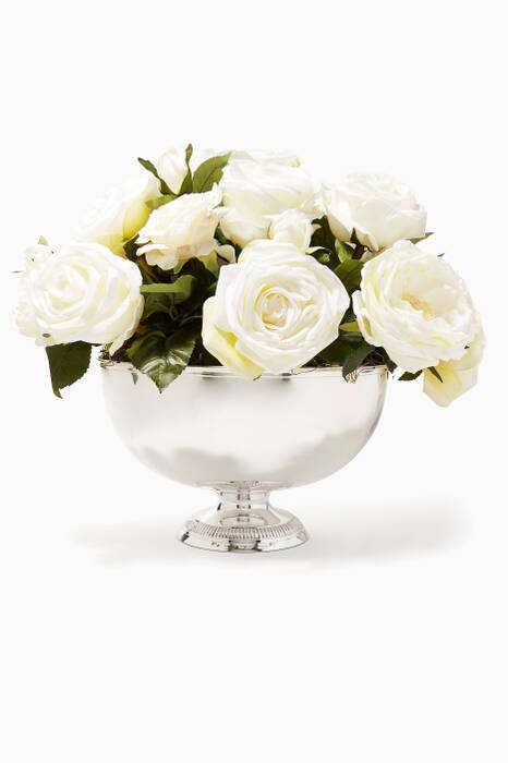 White Rose Bouquet in Cream and Silver Bowl Pedestal