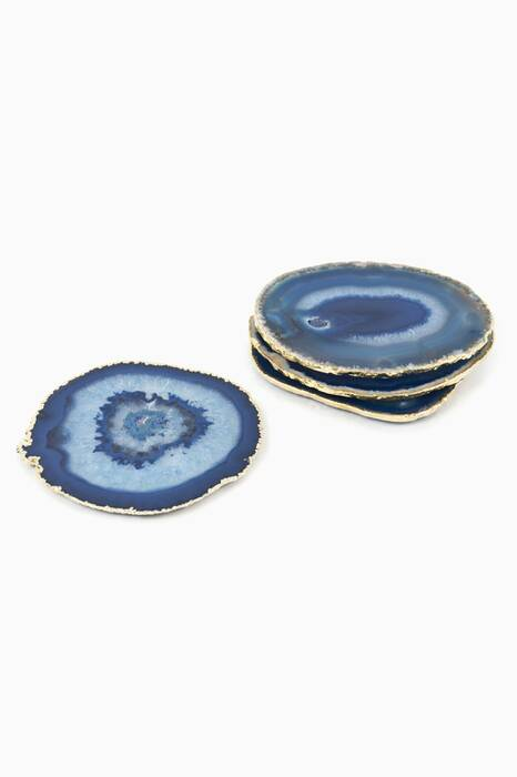 Blue and Gold Agate Coaster Set