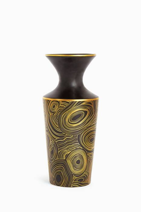Black & Gold Malachite Futura Vase