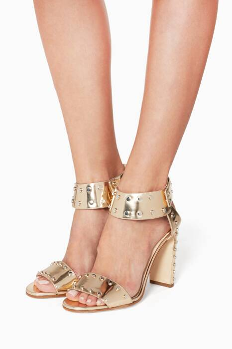 Rose Gold Mirror Veto Leather Sandals