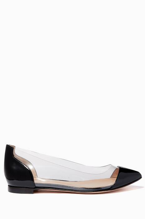 Monochrome Plexi Leather Ballerinas