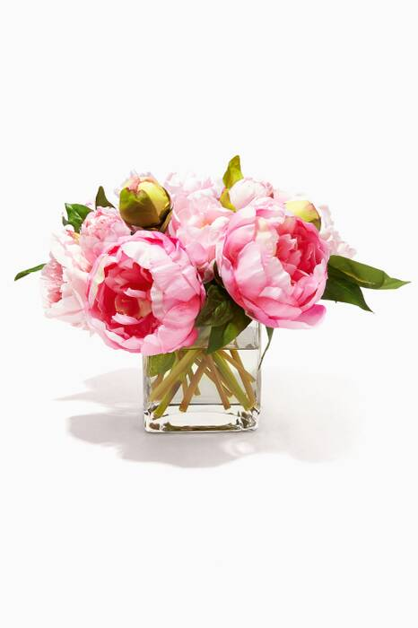 Pink Peony Rose Bouquet in Glass Cube Vase