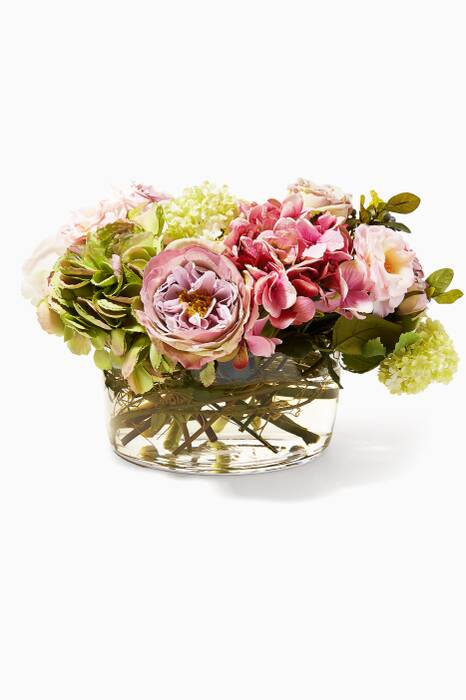 Pink Mauve Rose Hydrangea Bouquet in Glass Low Bowl