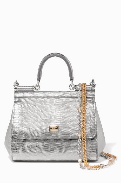 Silver Small Miss Sicily Iguana Print Tote