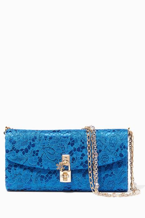 Blue Dolce Lace Chain Clutch