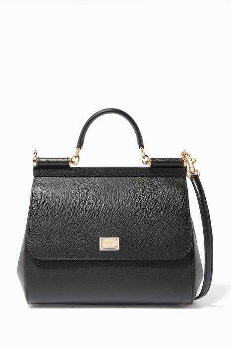 Black Regular Dauphine Leather Sicily Bag