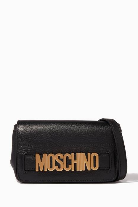Black Small Lettering Leather Cross-Body Bag