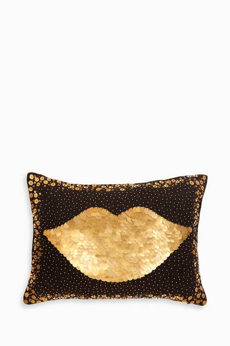 Black Talitha Lips Throw Pillow