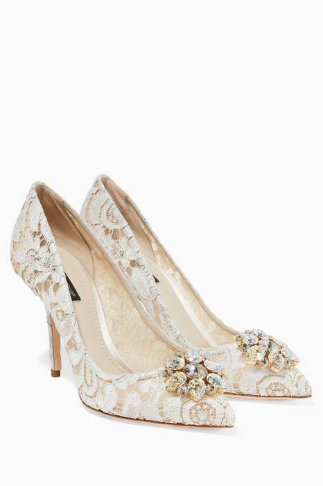White Belluci Lace Pumps