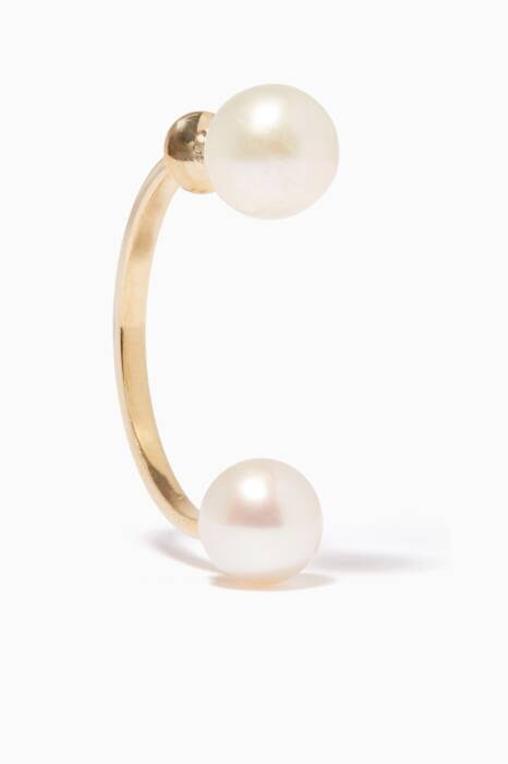 Gold Double Pearl Earring