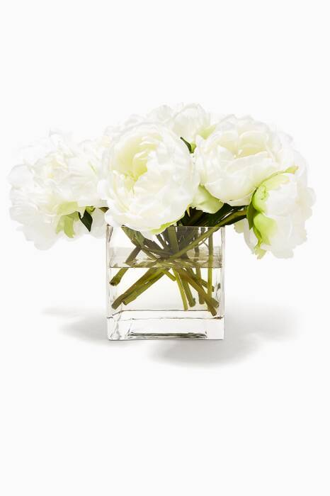 Peony Bouquet in Glass Cube