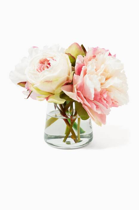 Cream and Fuchsia Peony Rose Bouquet in Glass Pyramid Vase