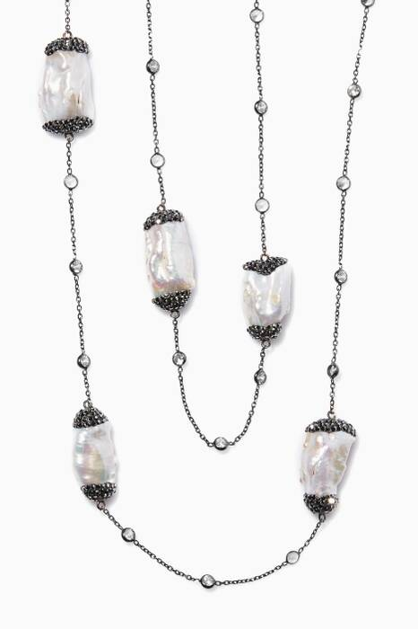 Off-White Baroque Pearl And Cubic Zirconia Necklace