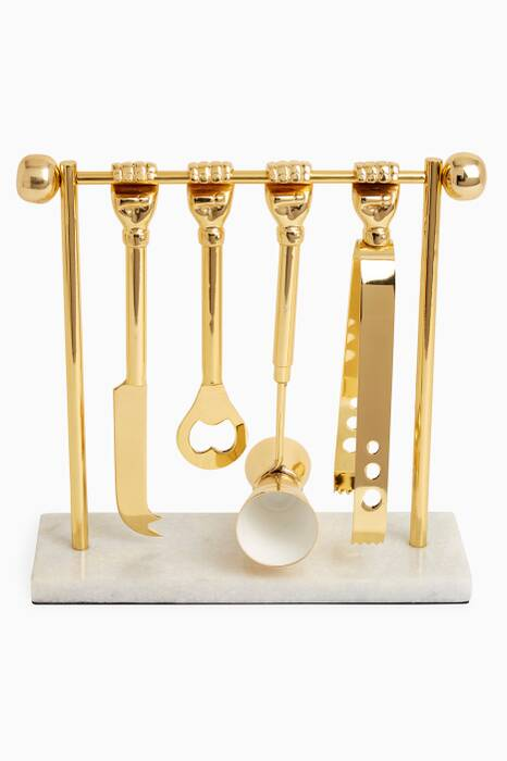 Gold Barbell Barware Set