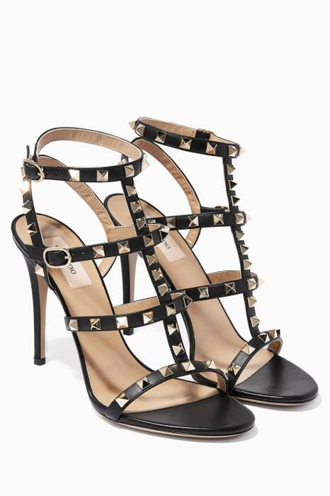 Nero Rockstud Leather High-Heel Sandals