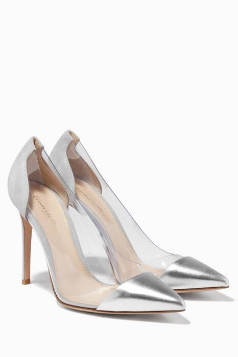 Silver Leather & Grey Suede Plexi Pumps