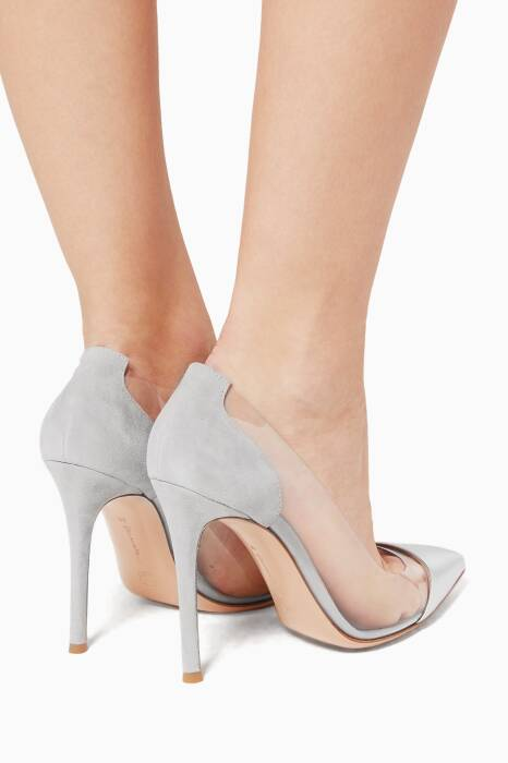Plexi Silver Suede And PVC Pump