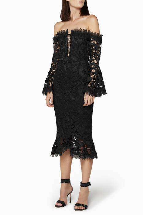 Black Botanical Lace Off-The-Shoulder Cocktail Dress