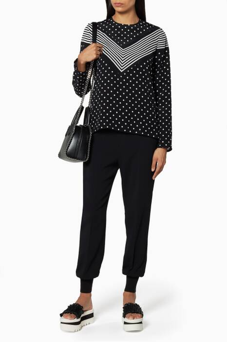 Black And White Louise Polka Dot Silk Top