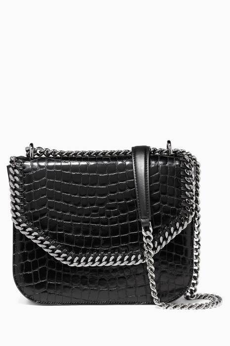 Black Falabella Box Alter Croc-Embossed Shoulder Bag