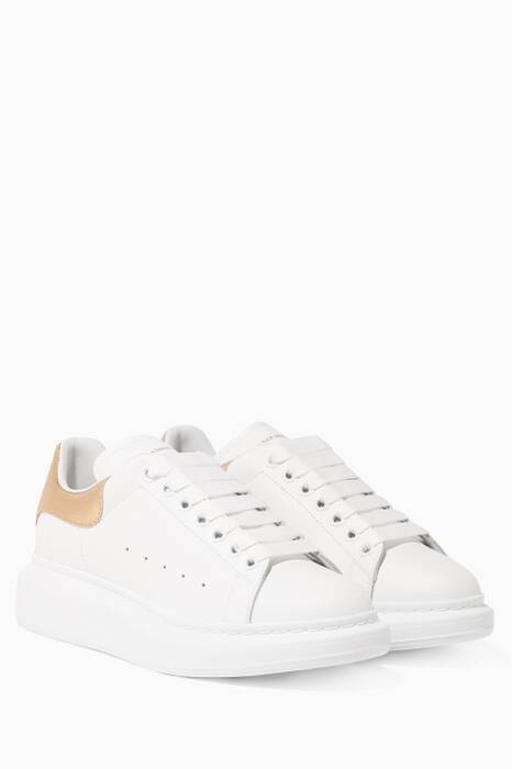 White & Gold Platform Leather Sneakers