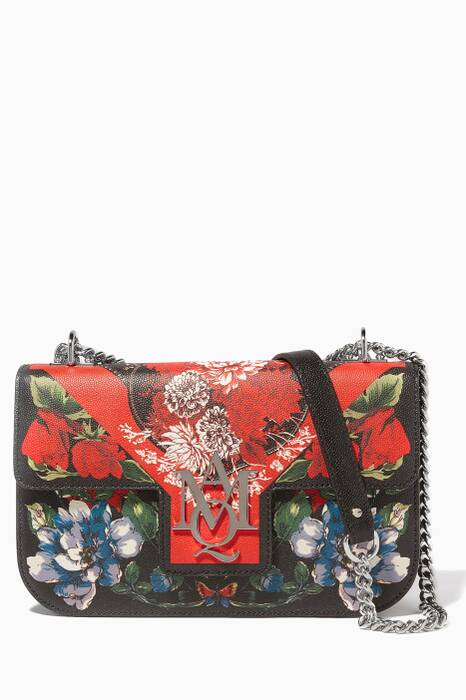 Floral Table Cloth Insignia Chain Satchel Bag