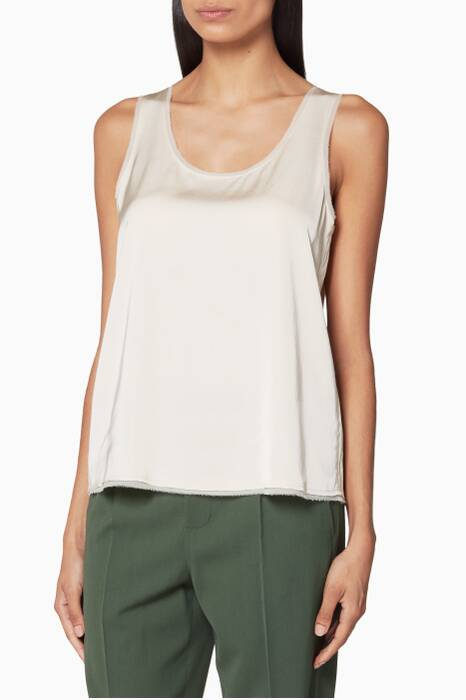 Beige Raw-Edge Tank Top