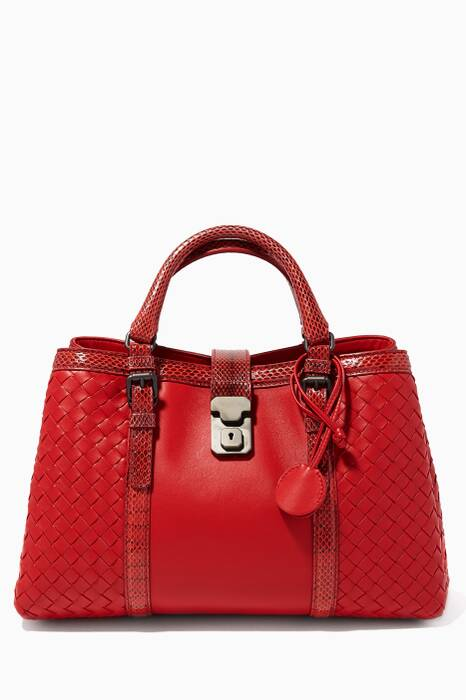 Red Roma Small Intrecciato Leather Tote