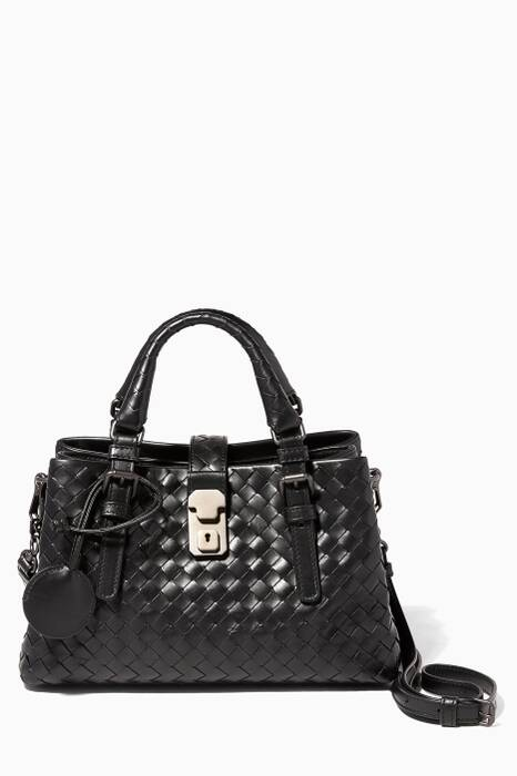 Small Black Roma Intrecciato Leather Tote Bag