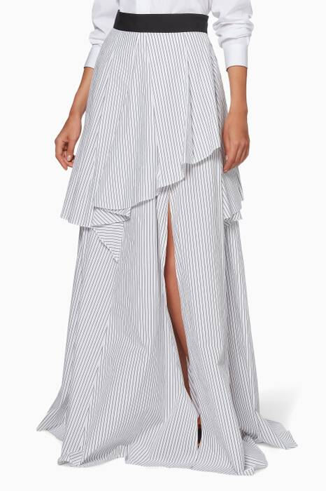 White Striped Asymmetric Skirt