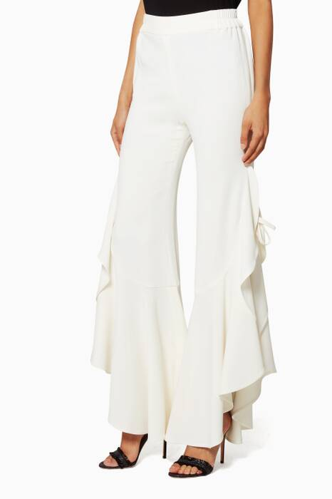 Ivory Side Ruffle Long Crepe Pants