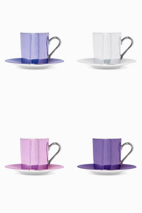 Polka Pastel Coffee Cup And Saucer set of four