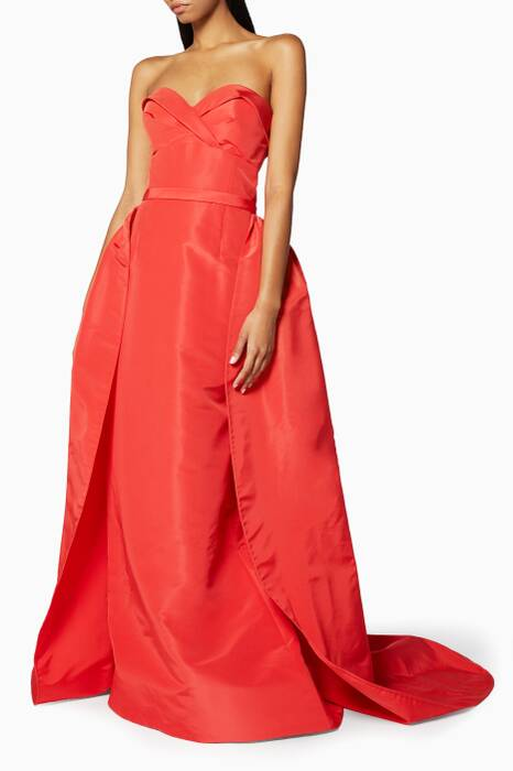 Orange Strapless Draped Gown