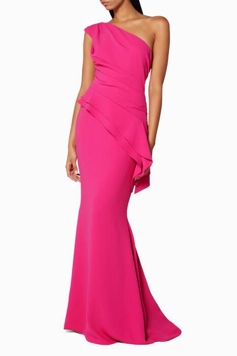 Dark-Pink One-Shoulder Gown