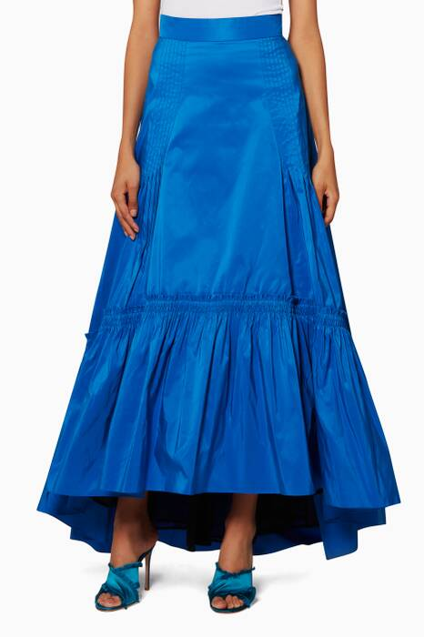 Bright Blue Taffeta Long Skirt