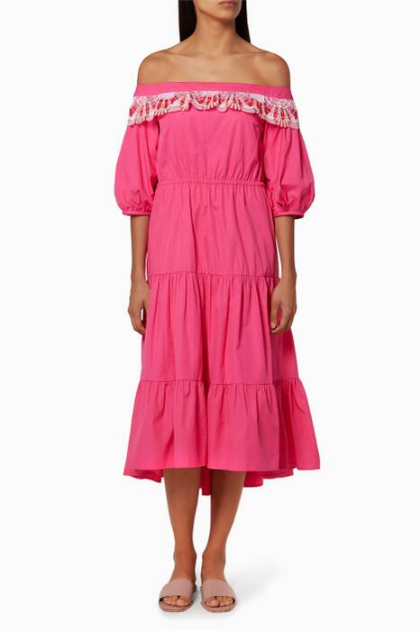 Pink Off-The-Shoulder Lace Pallas Dress