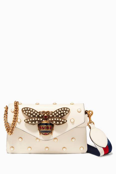 White Brodway Leather Chain Clutch