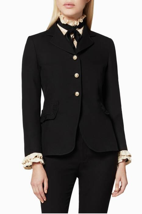Black Ruffled-Cuff Jacket