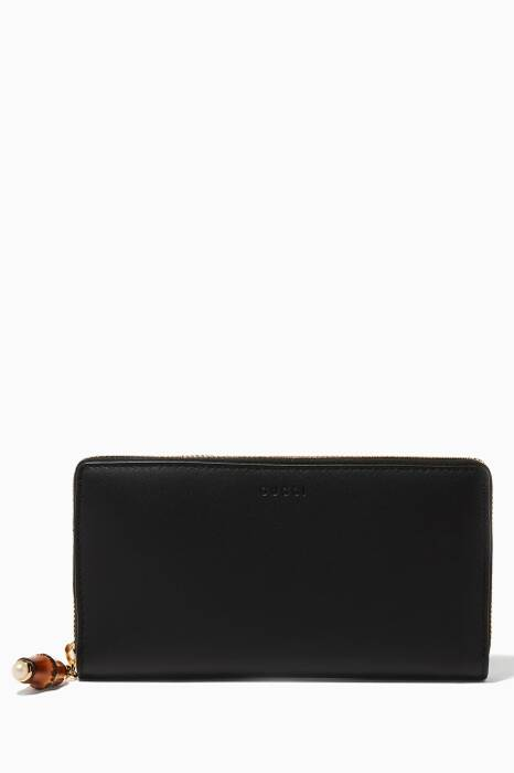 Black Nymphaea Zip Around Wallet